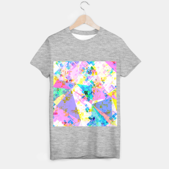 geometric triangle pattern abstract background in pink blue yellow green T-shirt regular thumbnail image