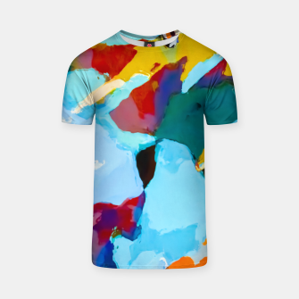 painting texture abstract in blue orange green yellow T-shirt thumbnail image