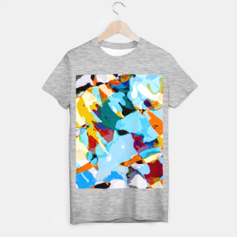 painting texture abstract in blue orange green yellow T-shirt regular thumbnail image