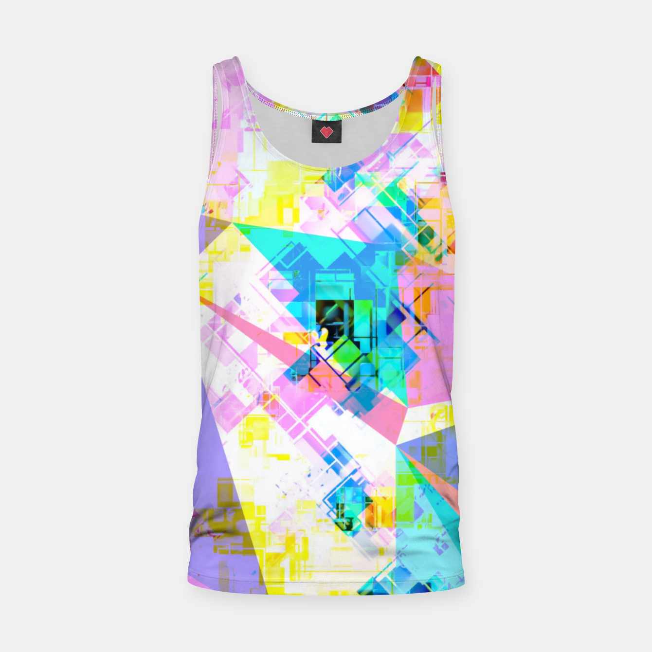 Image of geometric triangle pattern abstract background in pink blue yellow green Tank Top - Live Heroes