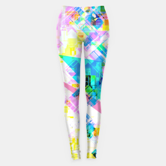 geometric triangle pattern abstract background in pink blue yellow green Leggings thumbnail image