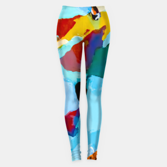 painting texture abstract in blue orange green yellow Leggings thumbnail image