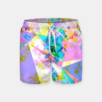 geometric triangle pattern abstract background in pink blue yellow green Swim Shorts thumbnail image