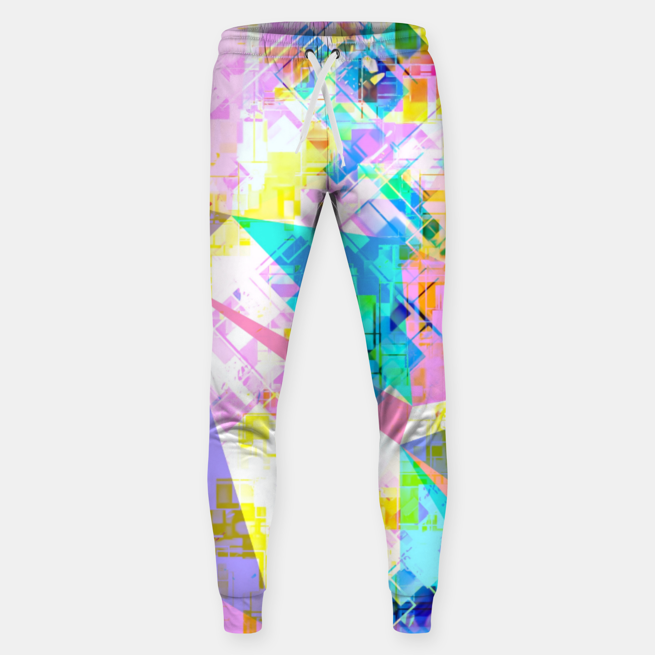 Image of geometric triangle pattern abstract background in pink blue yellow green Sweatpants - Live Heroes