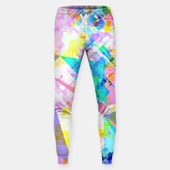 geometric triangle pattern abstract background in pink blue yellow green Sweatpants thumbnail image