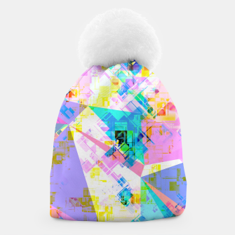 geometric triangle pattern abstract background in pink blue yellow green Beanie thumbnail image