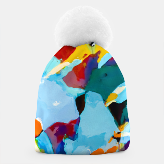 painting texture abstract in blue orange green yellow Beanie thumbnail image