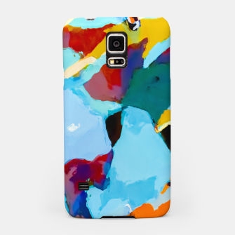 painting texture abstract in blue orange green yellow Samsung Case thumbnail image