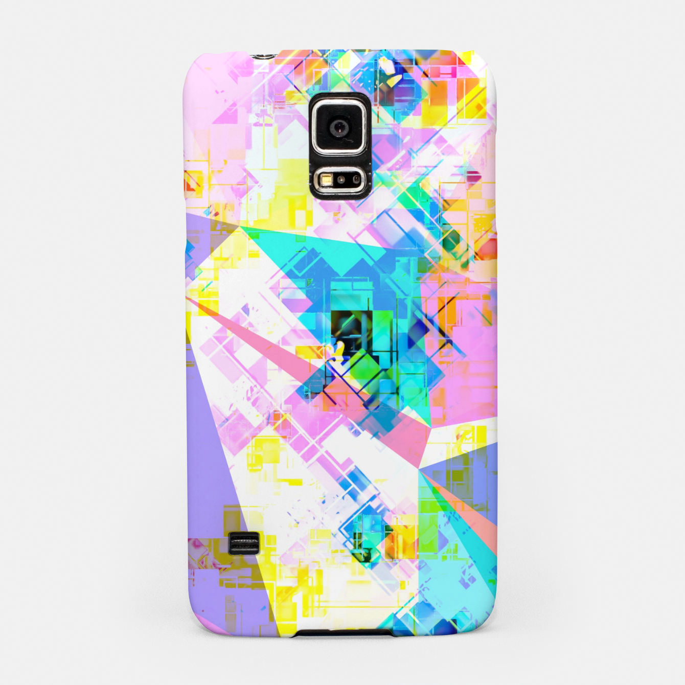 Image of geometric triangle pattern abstract background in pink blue yellow green Samsung Case - Live Heroes