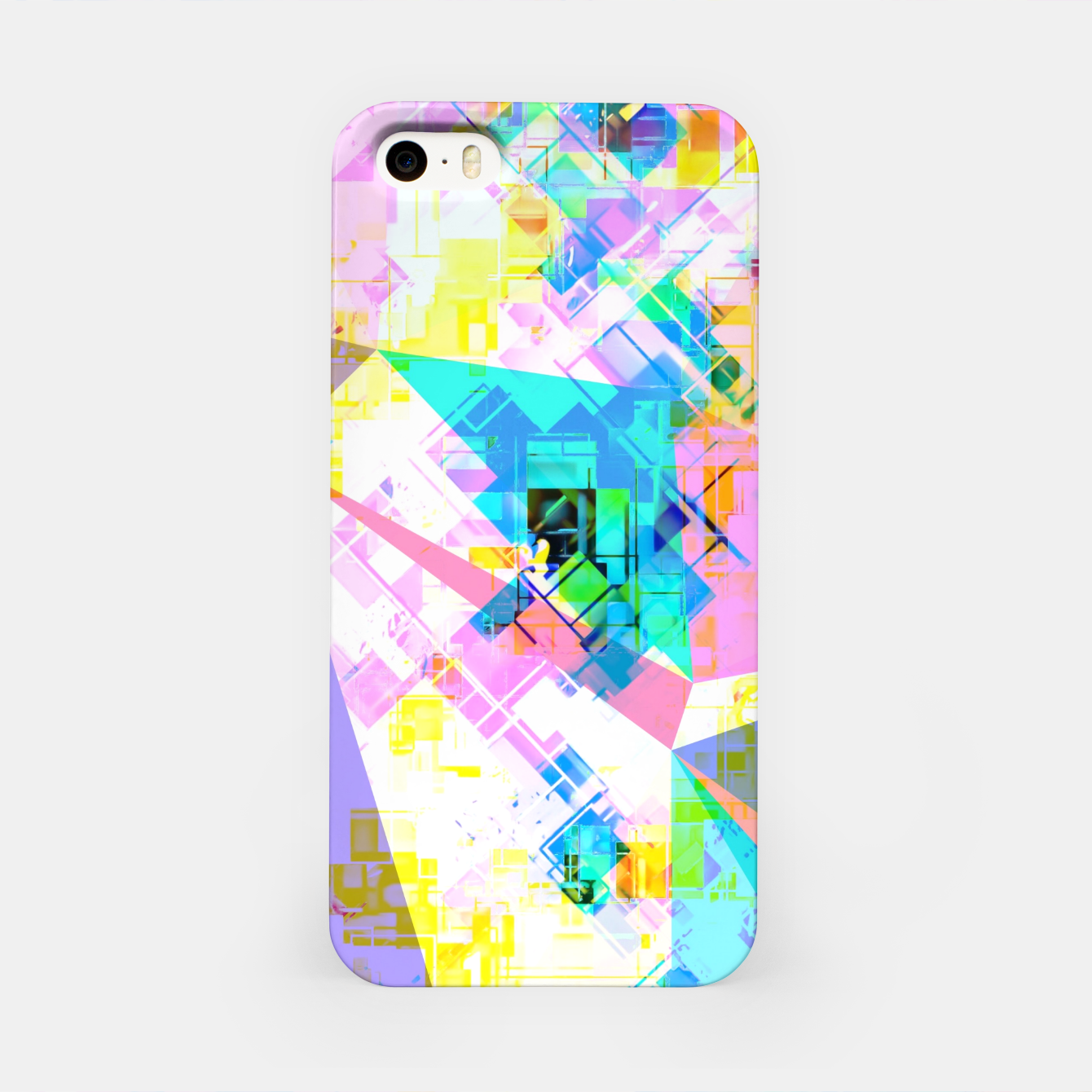 Image of geometric triangle pattern abstract background in pink blue yellow green iPhone Case - Live Heroes