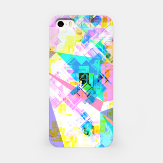 geometric triangle pattern abstract background in pink blue yellow green iPhone Case thumbnail image