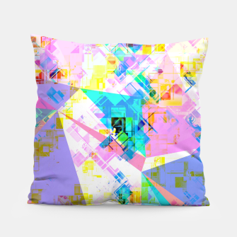 geometric triangle pattern abstract background in pink blue yellow green Pillow thumbnail image