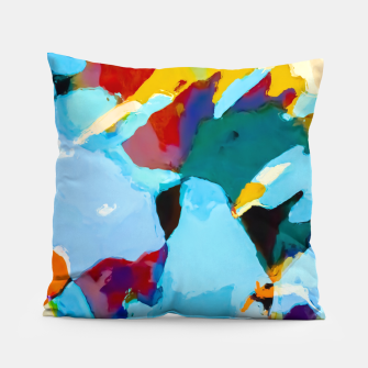 painting texture abstract in blue orange green yellow Pillow thumbnail image