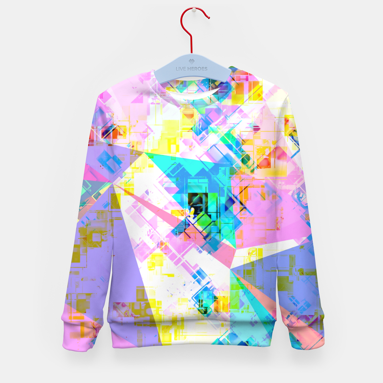 Image of geometric triangle pattern abstract background in pink blue yellow green Kid's sweater - Live Heroes