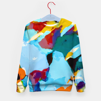 painting texture abstract in blue orange green yellow Kid's sweater thumbnail image