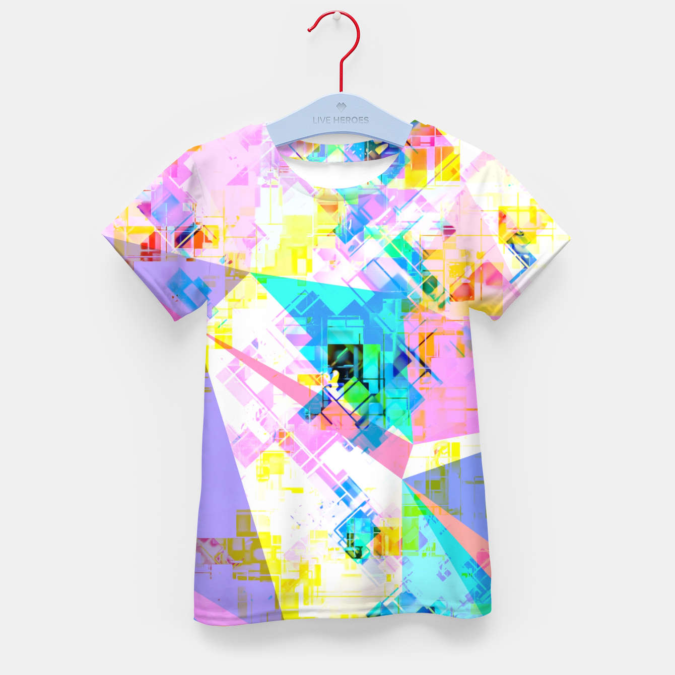 Image of geometric triangle pattern abstract background in pink blue yellow green Kid's t-shirt - Live Heroes