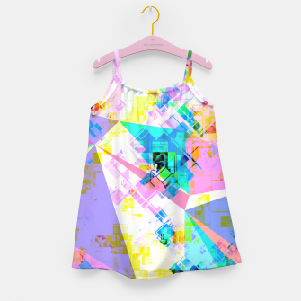 geometric triangle pattern abstract background in pink blue yellow green Girl's dress thumbnail image