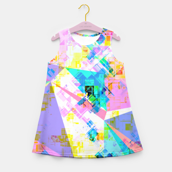 geometric triangle pattern abstract background in pink blue yellow green Girl's summer dress thumbnail image