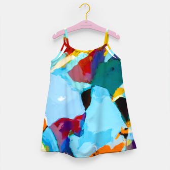 painting texture abstract in blue orange green yellow Girl's dress thumbnail image