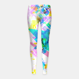 geometric triangle pattern abstract background in pink blue yellow green Girl's leggings thumbnail image