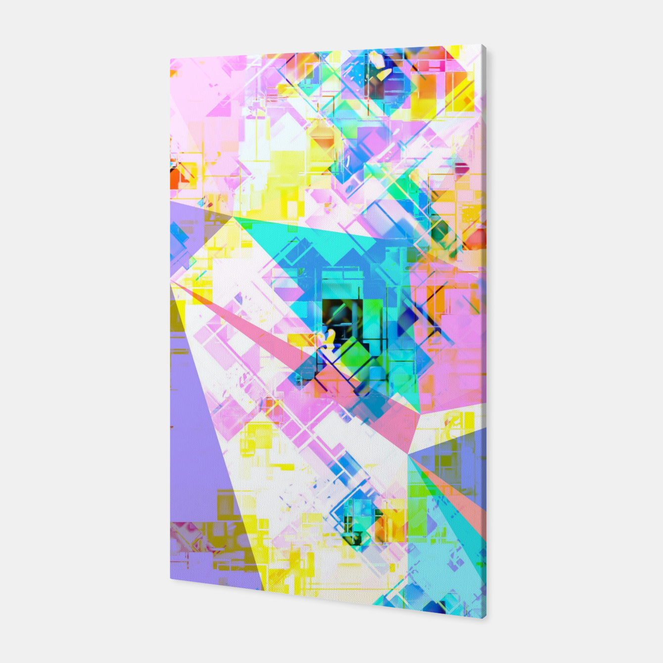 Image of geometric triangle pattern abstract background in pink blue yellow green Canvas - Live Heroes
