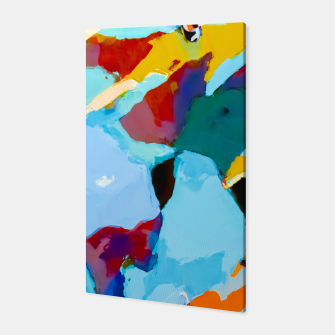 painting texture abstract in blue orange green yellow Canvas thumbnail image