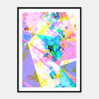 geometric triangle pattern abstract background in pink blue yellow green Framed poster thumbnail image