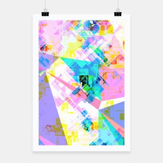 geometric triangle pattern abstract background in pink blue yellow green Poster thumbnail image