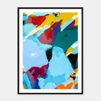 painting texture abstract in blue orange green yellow Framed poster thumbnail image