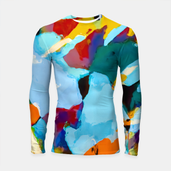 painting texture abstract in blue orange green yellow Longsleeve rashguard  thumbnail image