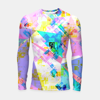 geometric triangle pattern abstract background in pink blue yellow green Longsleeve rashguard  thumbnail image