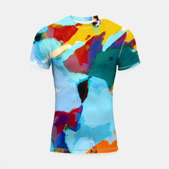painting texture abstract in blue orange green yellow Shortsleeve rashguard thumbnail image
