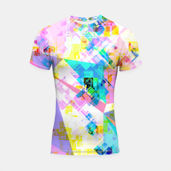 geometric triangle pattern abstract background in pink blue yellow green Shortsleeve rashguard thumbnail image