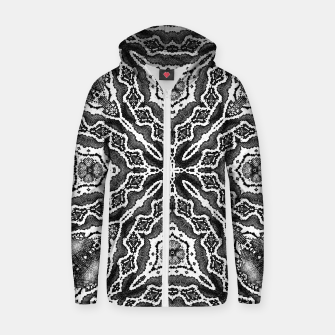 Thumbnail image of abstract jewel print gray Zip up hoodie, Live Heroes