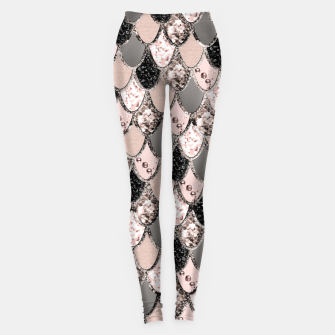 Rose Gold Blush Mermaid Princess Glitter Scales #1 #shiny #decor #art  Leggings thumbnail image