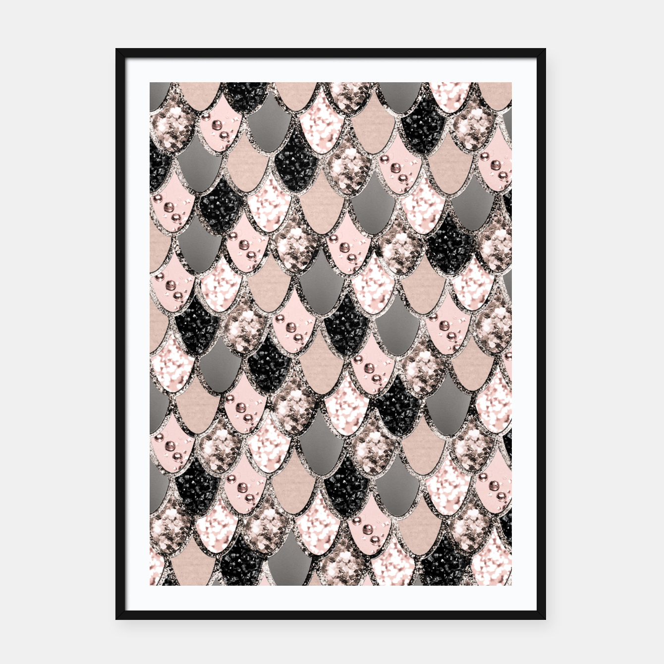 Image of Rose Gold Blush Mermaid Princess Glitter Scales #1 #shiny #decor #art  Plakat mit rahmen - Live Heroes