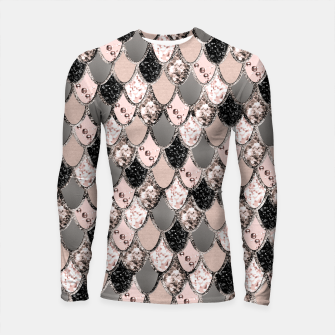 Rose Gold Blush Mermaid Princess Glitter Scales #1 #shiny #decor #art  Longsleeve rashguard thumbnail image