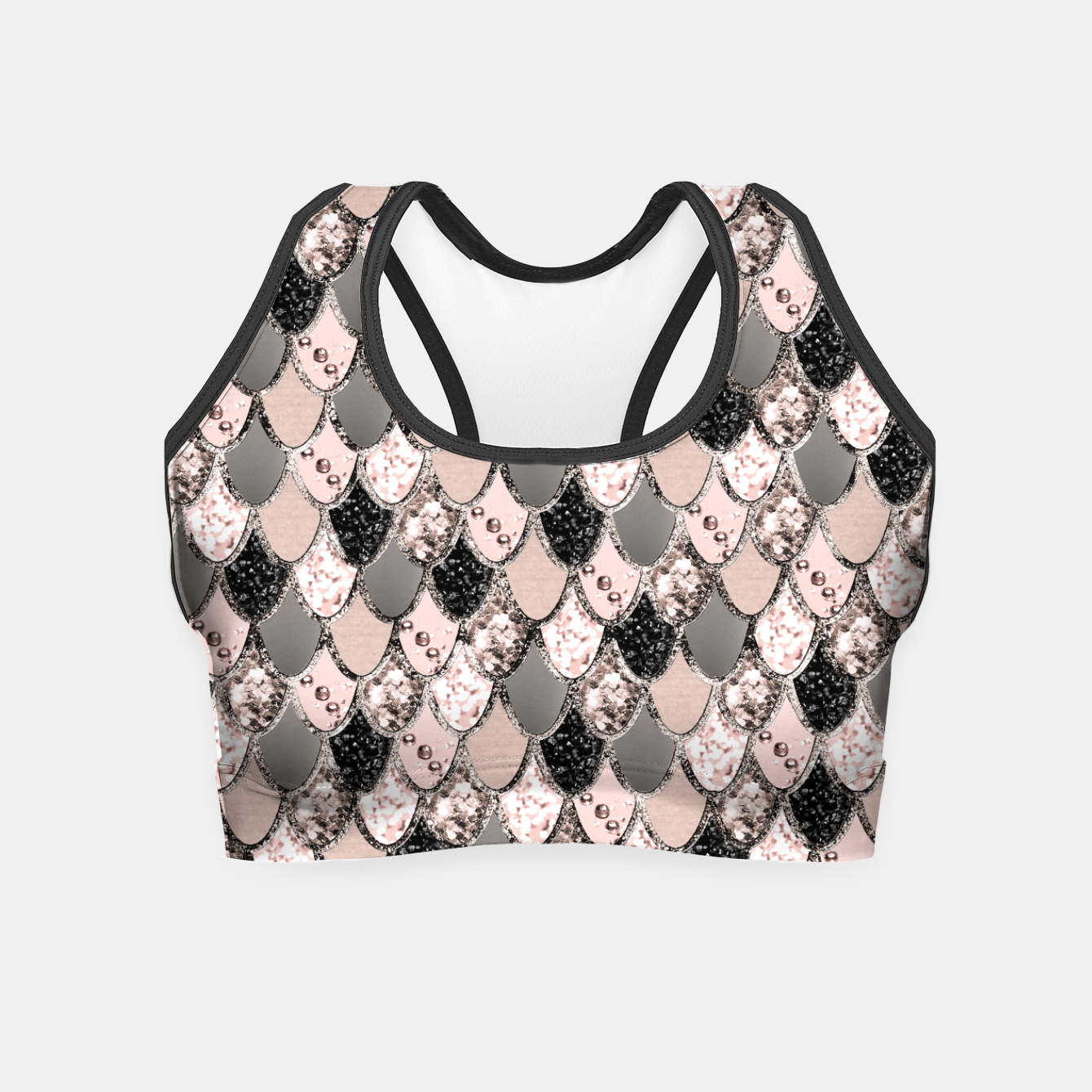 Image of Rose Gold Blush Mermaid Princess Glitter Scales #1 #shiny #decor #art  Crop Top - Live Heroes