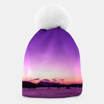 Sunset in Island Poros Greece Beanie thumbnail image