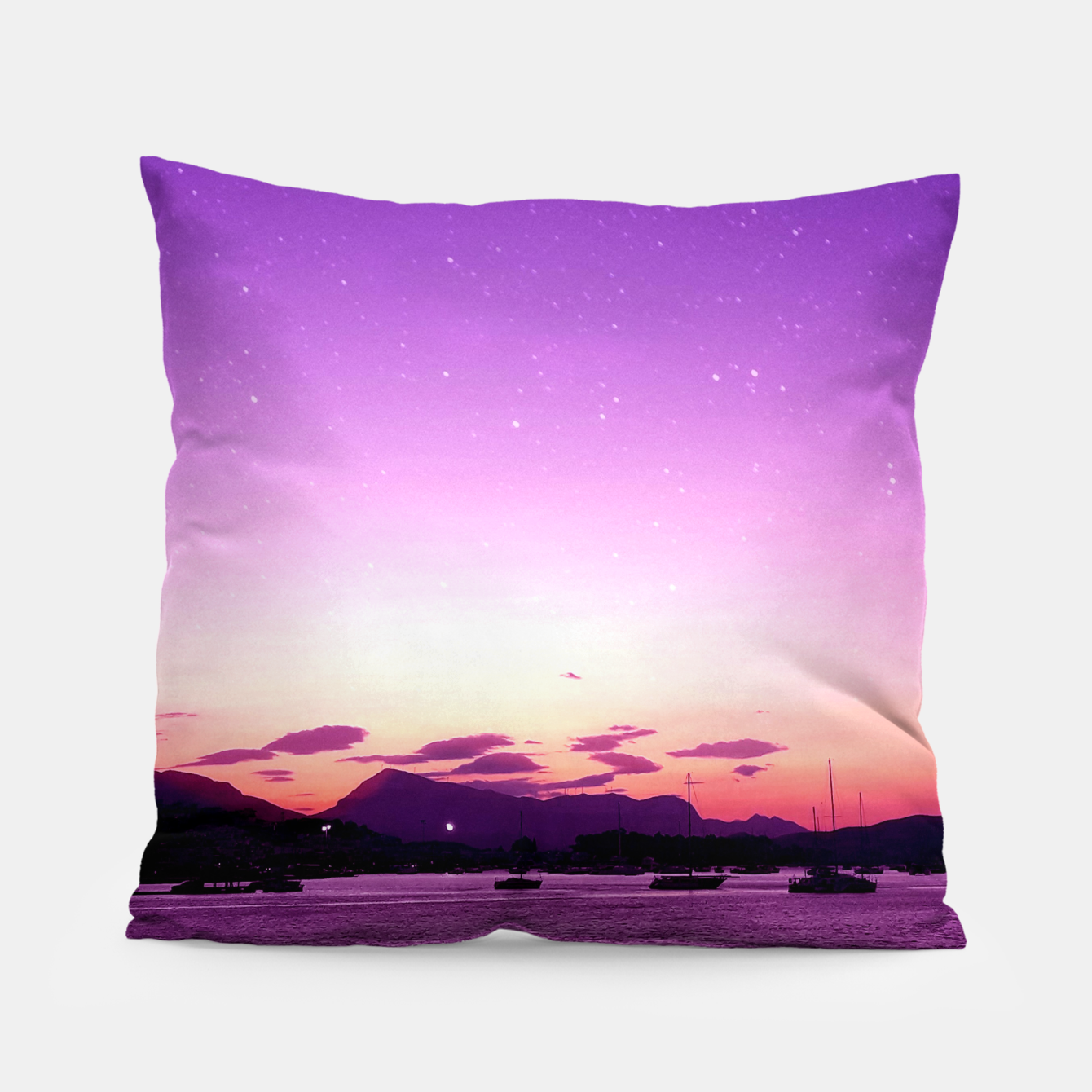 Image of Sunset in Island Poros Greece Pillow - Live Heroes