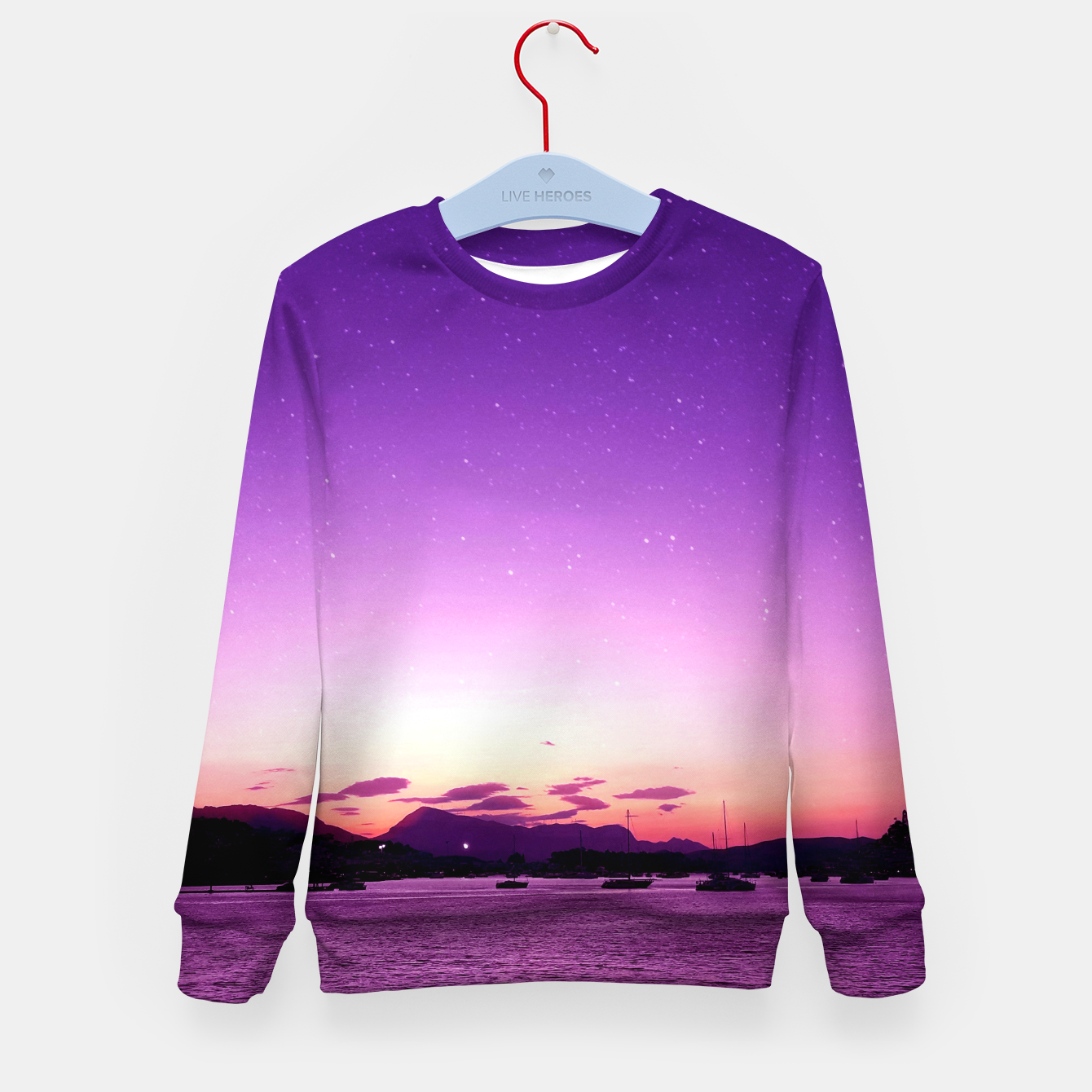 Image of Sunset in Island Poros Greece Kid's sweater - Live Heroes