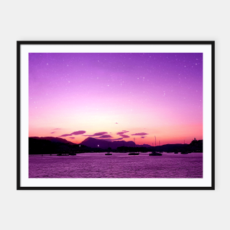 Sunset in Island Poros Greece Framed poster obraz miniatury