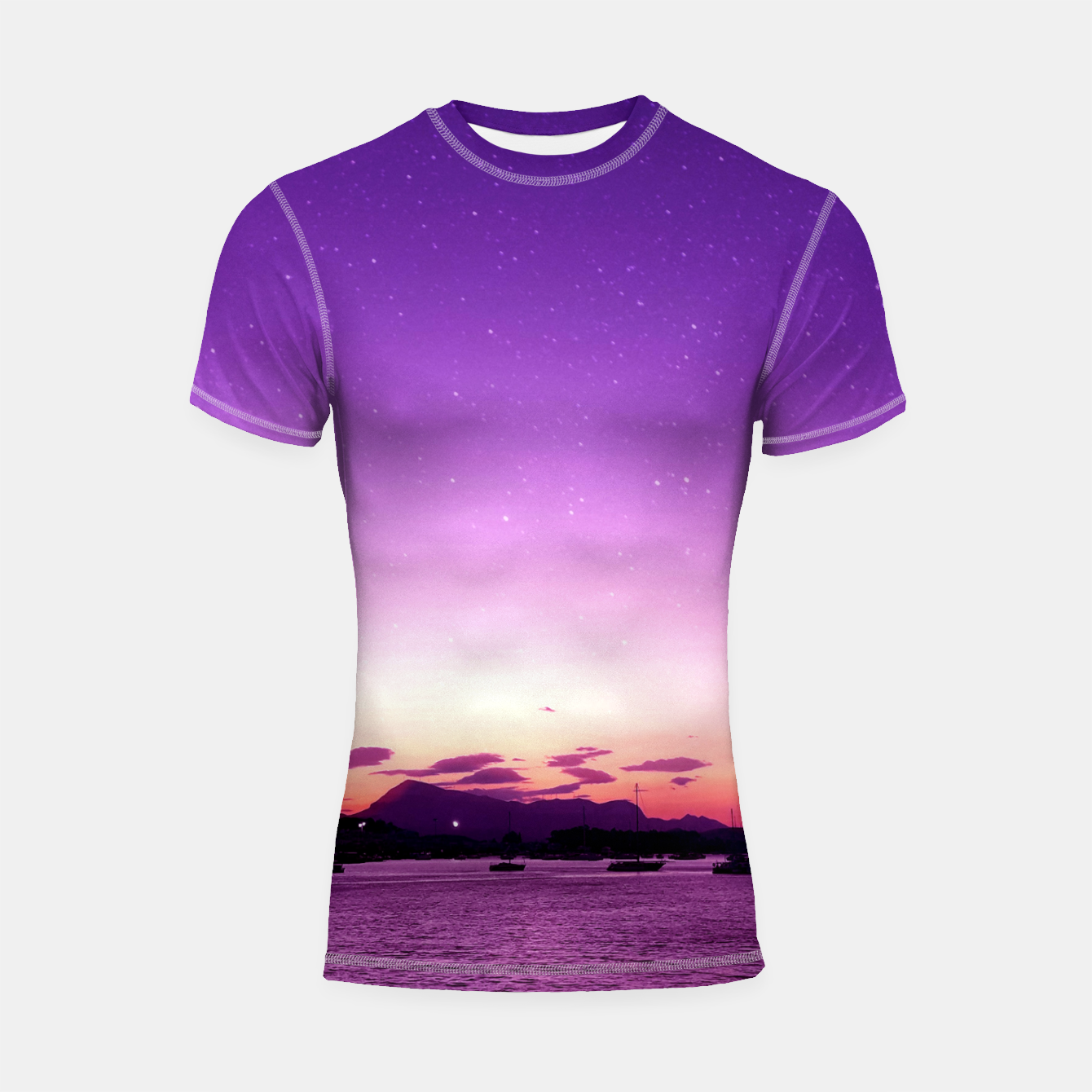 Zdjęcie Sunset in Island Poros Greece Shortsleeve rashguard - Live Heroes