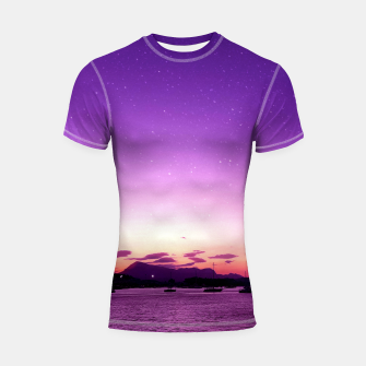 Sunset in Island Poros Greece Shortsleeve rashguard obraz miniatury
