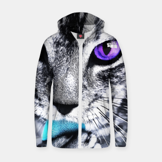 Thumbnail image of Purple eyes cat Zip up hoodie, Live Heroes