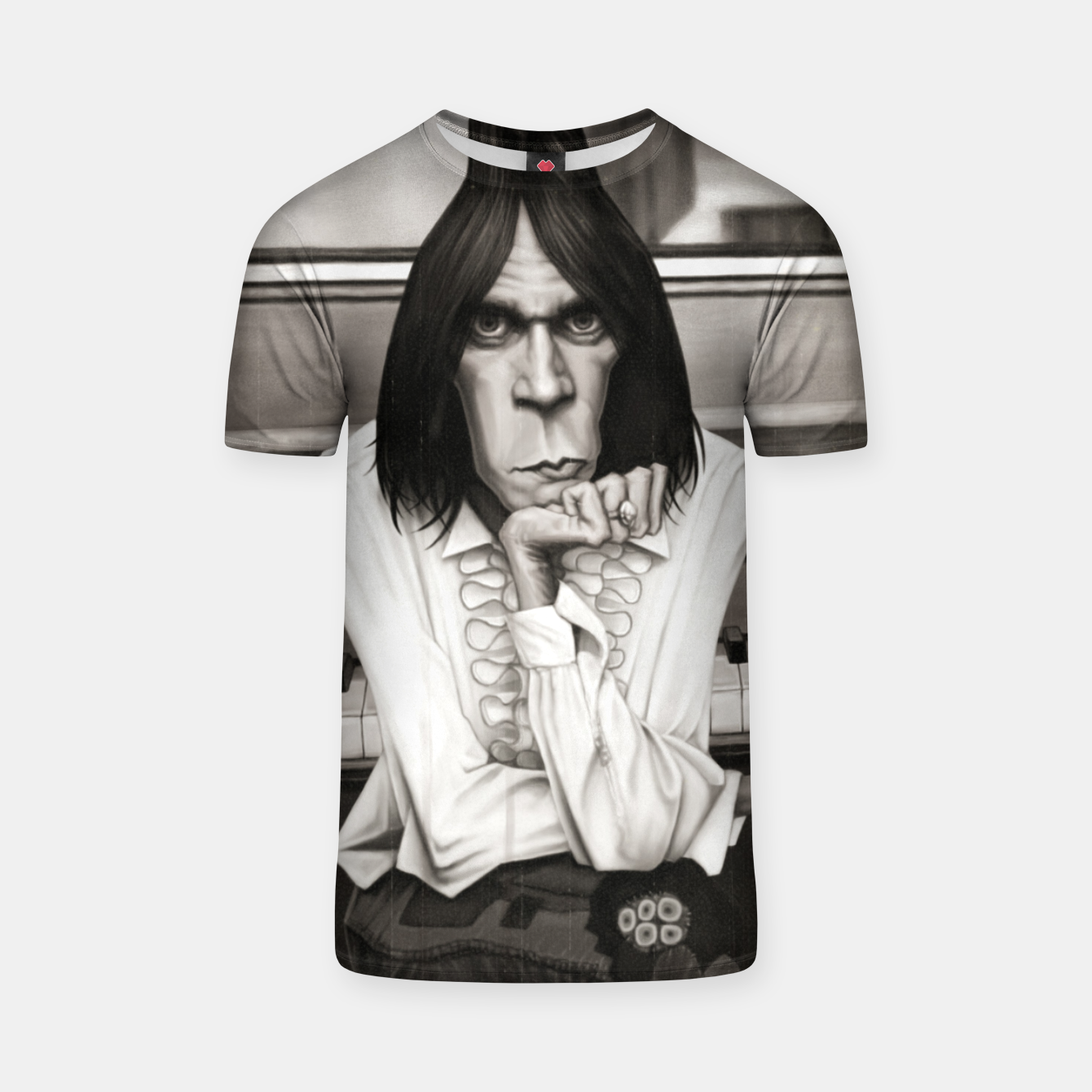Image of Neil Young Piano T-shirt - Live Heroes