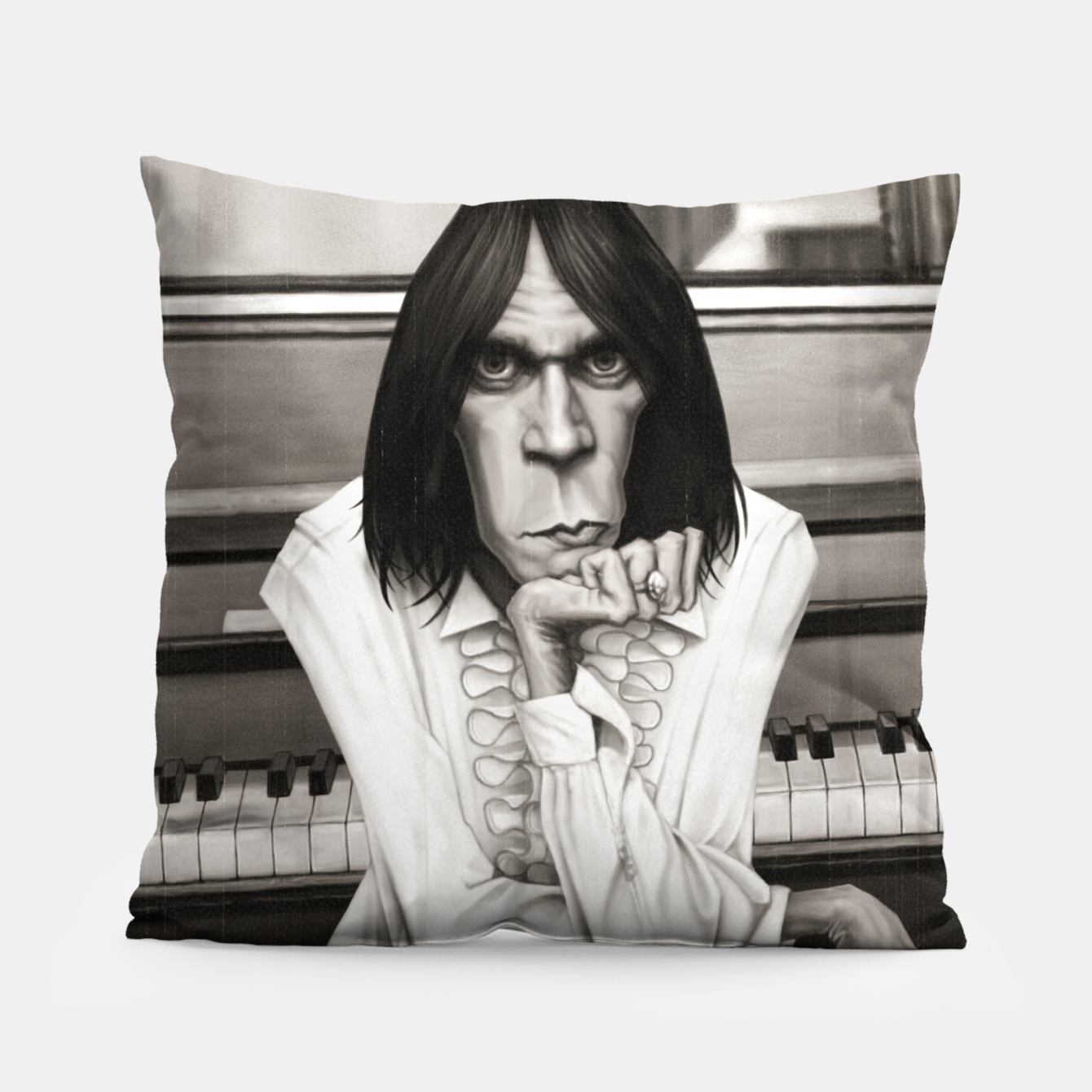 Image of Neil Young Piano Pillow - Live Heroes