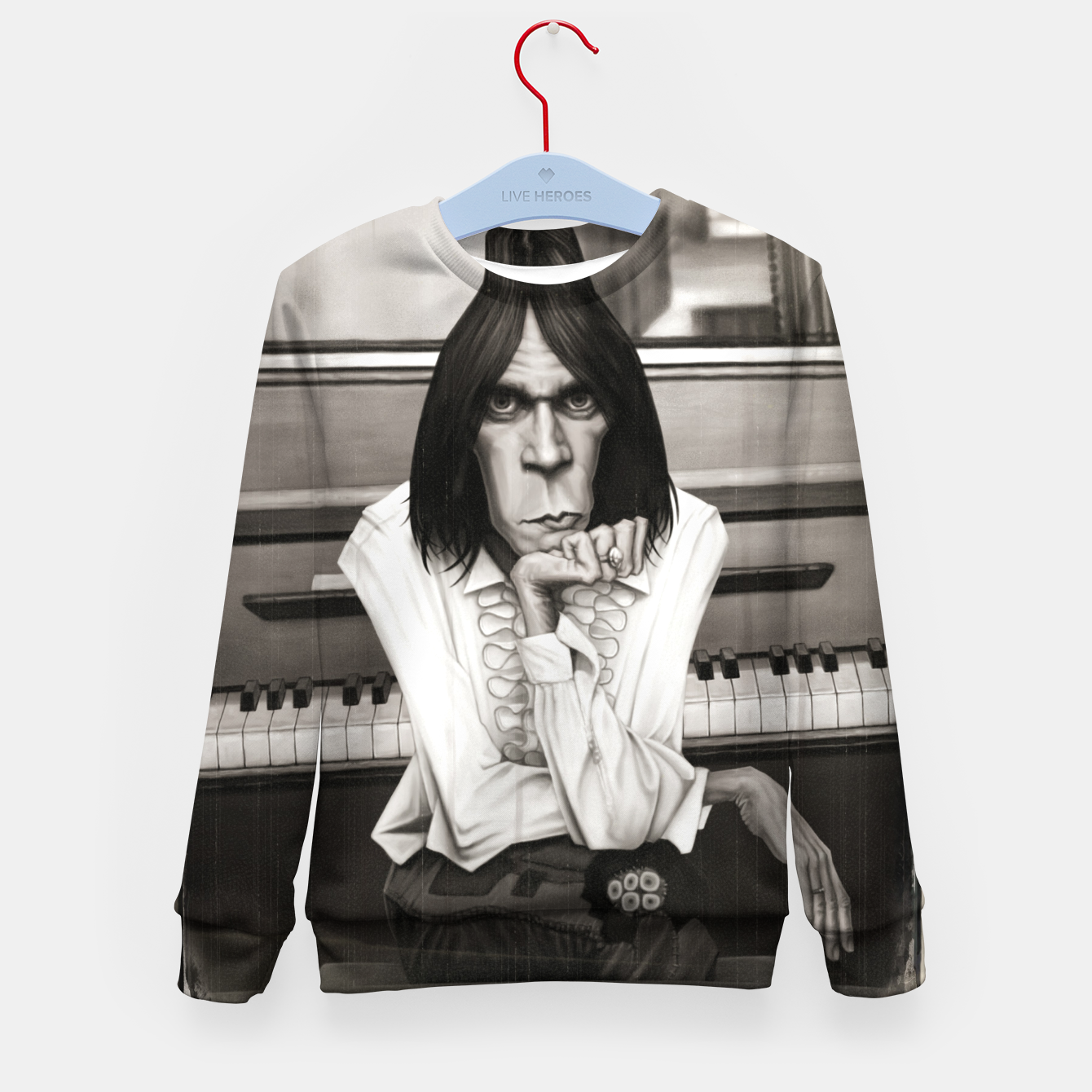 Image of Neil Young Piano Kid's sweater - Live Heroes