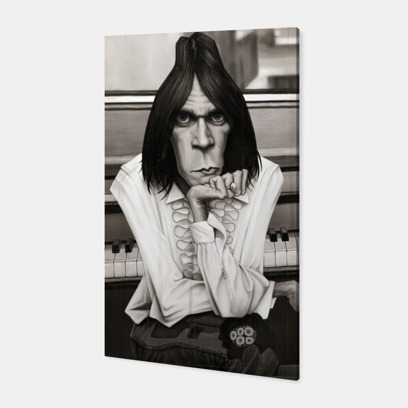 Image of Neil Young Piano Canvas - Live Heroes