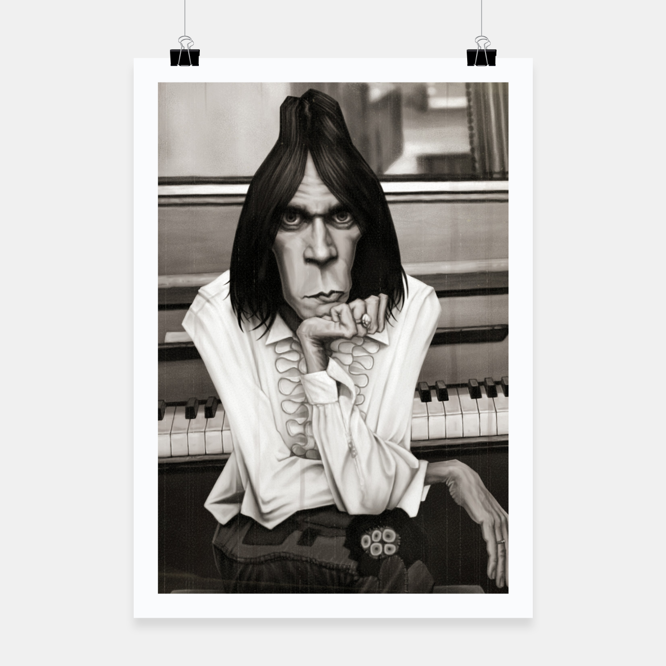 Image of Neil Young Piano Poster - Live Heroes